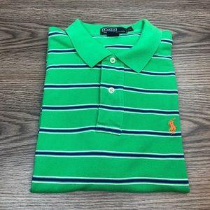 Polo Ralph Lauren Green w/ Navy Stripe Polo Shirt